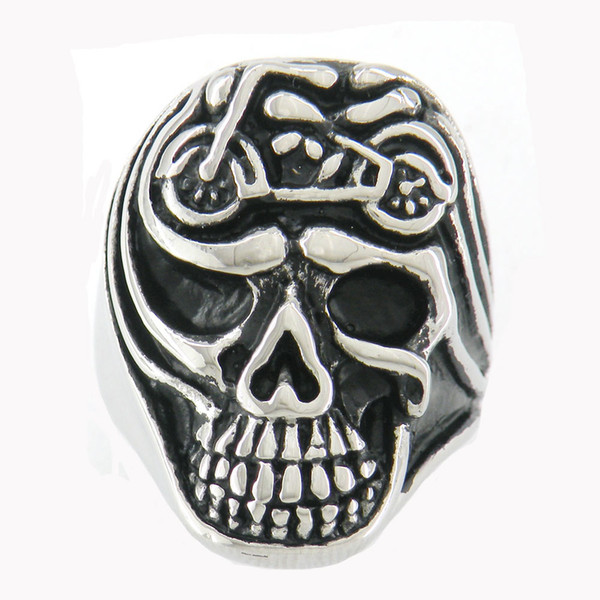 Stainless steel punk vintage mens or womens jewelry motor cycle skull biker ring GIFT FOR BROTHERS SISTERS