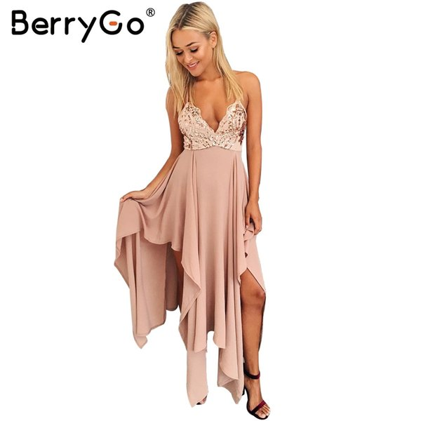 BerryGo Irregular sequin backless long sexy dress Women sleeveless v neck summer  dress Elegant evening party dress vestidos 17501 4914fe03f589
