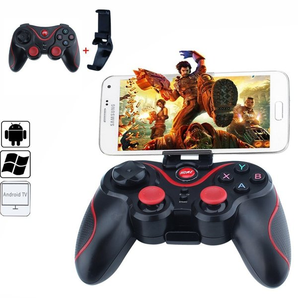 2017 New T3 Bluetooth Gamepad For Android Phone Pad Smart Box PC Joystick Wireless Bluetooth Joypad Game Controller With Mobile Holder
