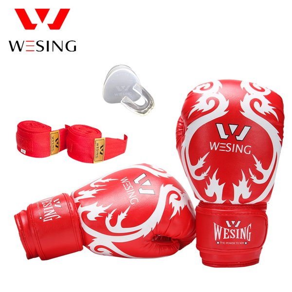10OZ Wesing Sanda Training Equipment Set Boxing Gloves Teeth Protector Handrap Punch Bag Glove Protector Gear Fight Fitness Supplies