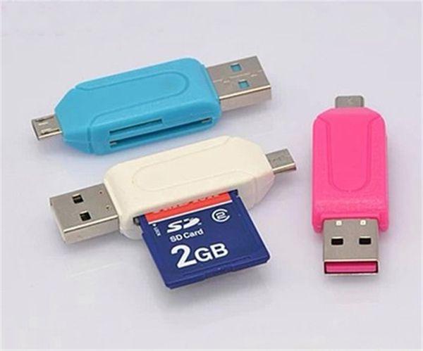 2 en 1 USB macho a Micro USB ranura dual OTG adaptador con lector de tarjetas de memoria TF / SD 32 GB 16 GB para Android Tablet Smartphone Samsung