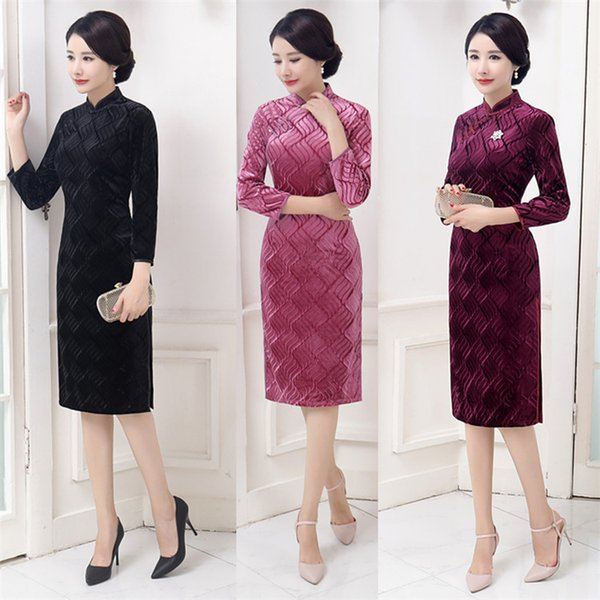 2019 New high quality simple plus size 3/4 long sleeve velvet black/pink/wine red short cheongsam solid color Chinese dress daily qipao