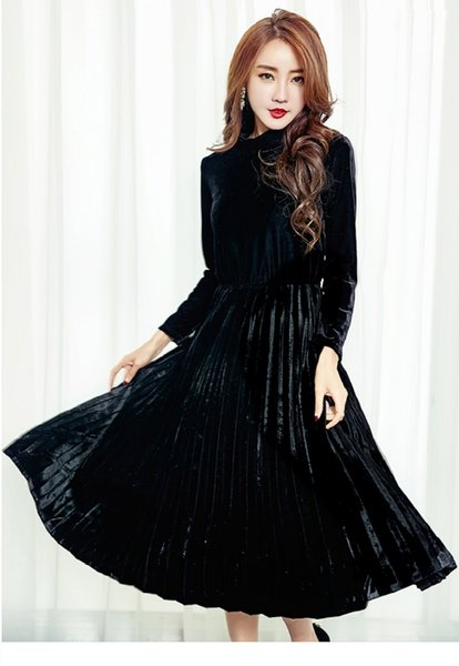 New Winter Spring Women Elegant Maxi Long Dress Turtleneck Pure Color Slim Fashion Vestidos Long Sleeve Velvet Female Work Dress