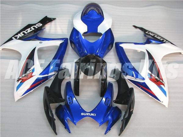 Regalos gratis + Cubierta de asiento Nuevo motor Kits de carenado para SUZUKI GSXR 600 750 K6 06 07 GSXR-600 GSXR750 GSXR600 GSXR-750 2006 2007 comprar en caliente azul blanco