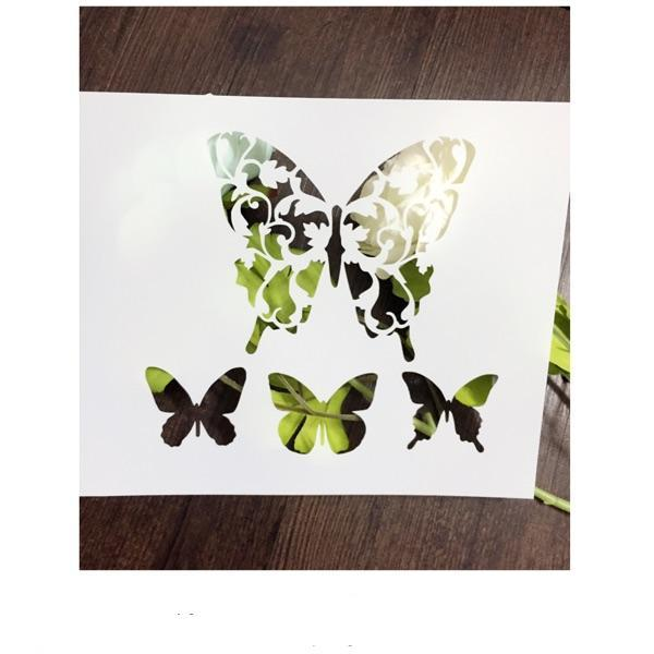 DIY white stencils pattern design Masking template For Scrapbooking,cardmaking,painting,DIY cards-The four butterflies 037