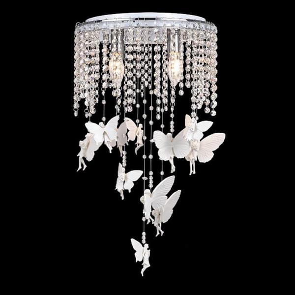 Großhandel Crystal Angel Mädchen Zimmer Deckenleuchten Romantische ...