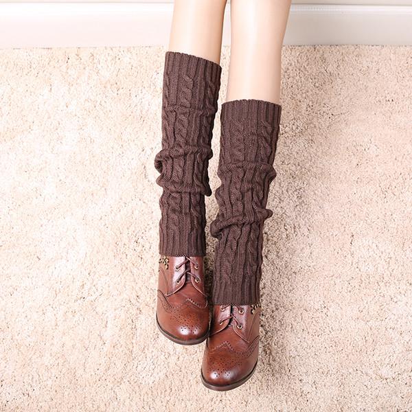 Venta al por mayor- 1 par de mujeres calientes de punto calentadores de pierna larga hasta la rodilla Crochet Boot Ruffle Knit calcetines calientes Cable calentadores de pierna
