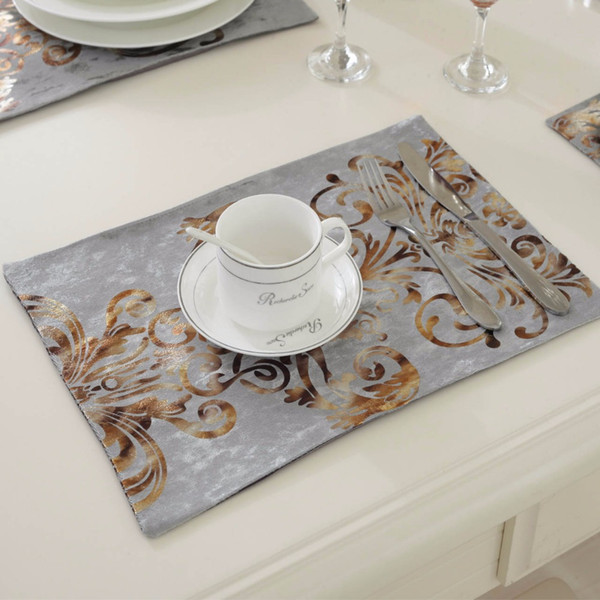Wholesale- 6Pcs/lot 26*38CM Fashion Luxury Dinner Placemats Tableware Pad for Wedding Party Decoration Dinning Kitchen Table Mats