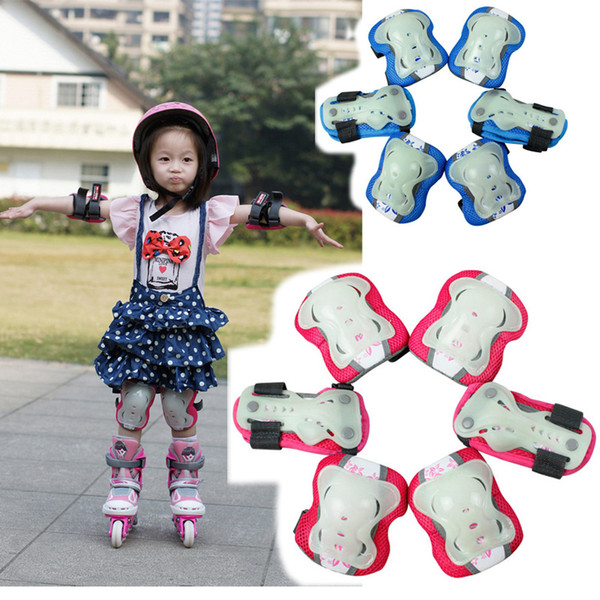 Wholesale- 6pcs/set Glow-in-the-dark Skating Protective Gear Sets Elbow pads Bicycle Skateboard Ice Skating Roller Protector For Kids