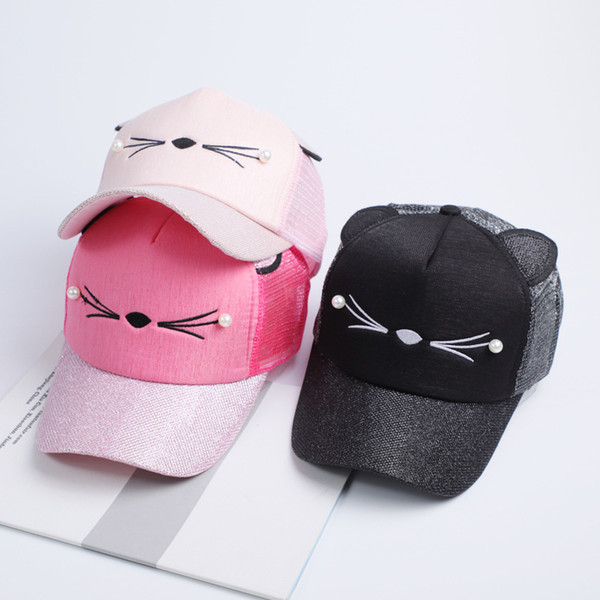 New Women Cat Baseball Cap With Cute Cat Ears Curved Brim Snapback Hat Cat Face Pearl Cotton Caps Outdoor Mesh Hats