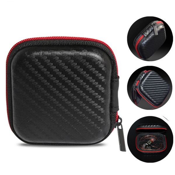 EVA Zipper Earphones Earbuds Custodie rigide Custodie per il trasporto Custodie Pouch Supporto PU portatile per scheda USB Cavo Auricolare stereo Bluetooth