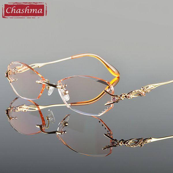 Großhandels-Chashma-Luxus-Farbton-Linsen-Myopie-Glas-Lesebrille-Diamant, der randlosen Titanbrillen-Rahmen für Frauen schneidet
