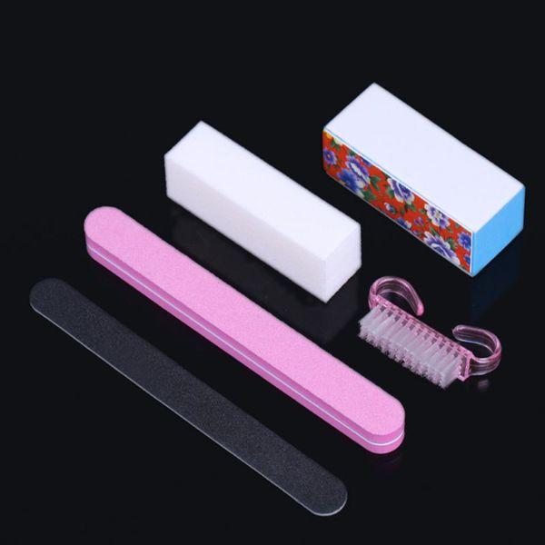 Wholesale- 5pcs Manicure Pro Nail Art Sponge Buffer Block Manicure Buffing Sanding Files + Nail Brushes Polish DIY Tool Kits