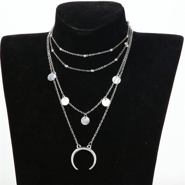 Capas de Luna Colgante de Oro Plata Color Gargantilla Collar Para Las Mujeres de Moda Collar de Lentejuelas de Metal Collar de Múltiples Cadenas de Fábrica al por mayor