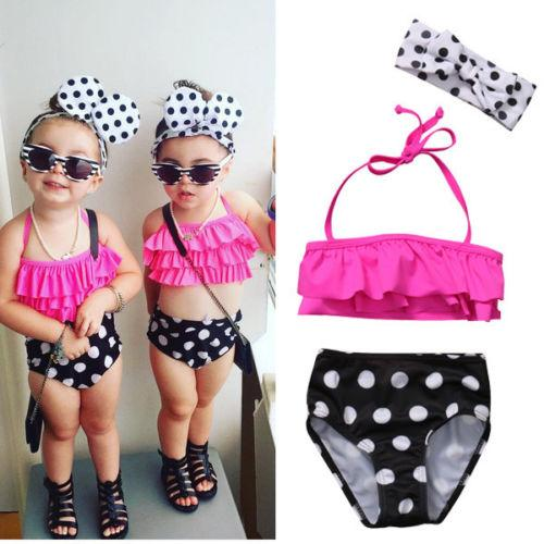best selling Baby Girls Summer Swimwear Bathing Suit Kids High Wasit Swimsuit Bikini Set 1x Bikini Pink Tops + Black Bottom + Head Band 3PCS