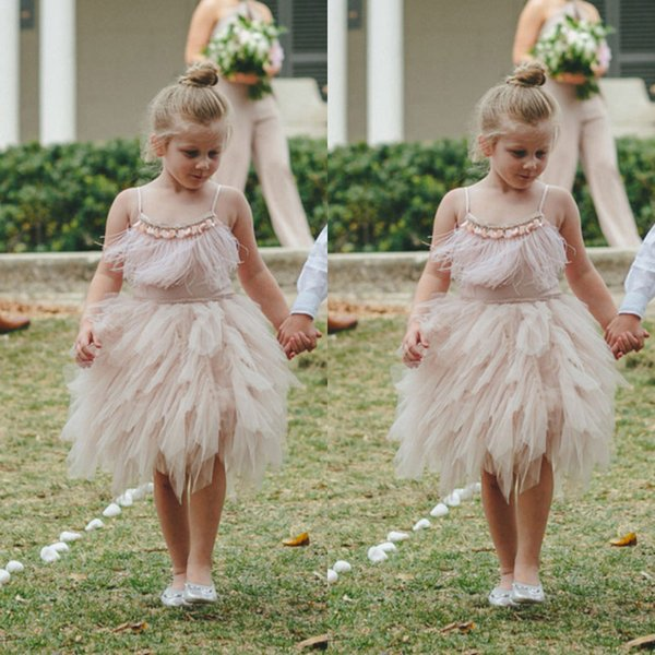 Feather Flower Girl Dress