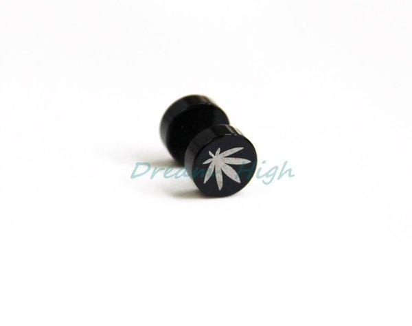 New Arrival Fake Ear Expander Titanium Black Ear leaves earring Logo 60pcs/lot 316l Surgical Steel Free Shipping