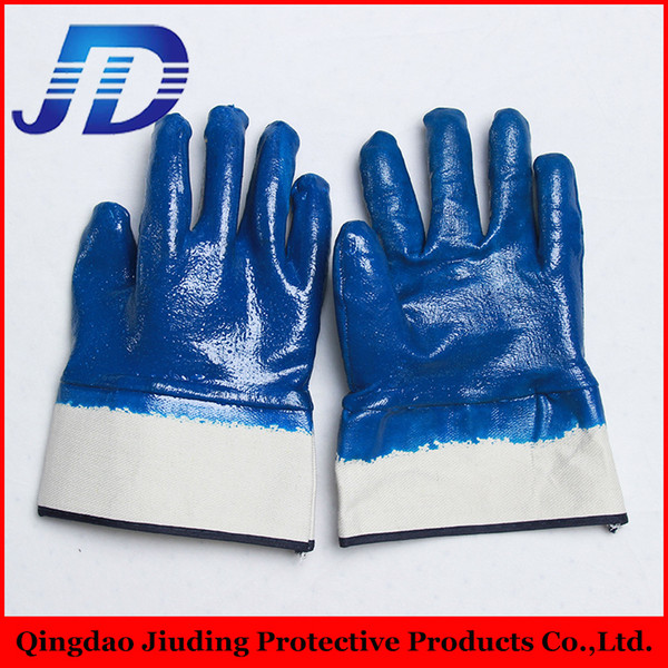best selling 2015 top selling10'' Full dipped blue color smooth finish safety cuff work nitrile coated gloves with cotten liner