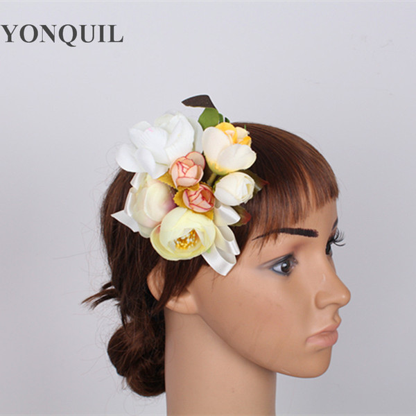 Free shipping Fabric Flower Brooch Hair Clip Wedding Party Woman Artificial flower hair fascinator Boutique Hair Accessories use brooch