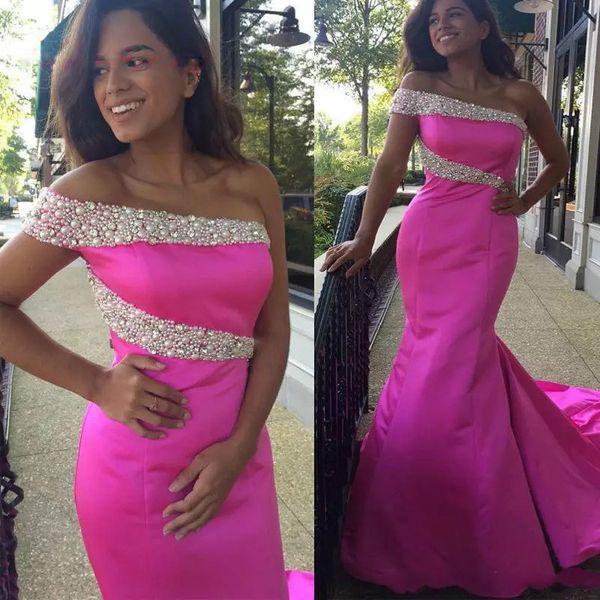 Beautiful Pink Satin Mermaid Prom Dress Sweep Train Pearls Crystal ...