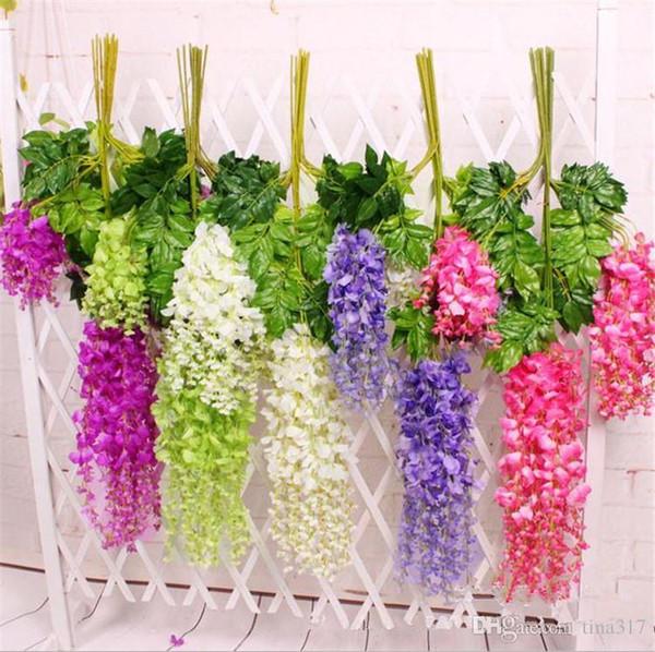 New Wisteria Wedding Decor 110cm 75cm 6 colori Ghirlande di fiori decorativi artificiali per matrimoni 2498