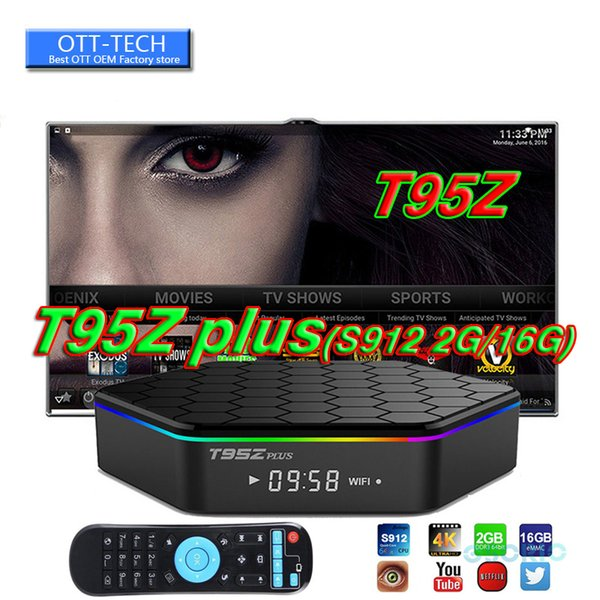 2018 T95Z PLUS Android 7.1 TV BOX Amlogic S912 Octa Core 2G 16G 3G 32G 2.4G 5G WiFi Bluetooth media players