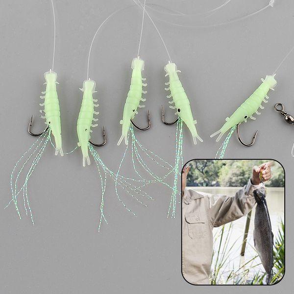 5PCS/Pack Sabiki Shrimp Rigs Glitter Glow in the dark Fish Fishing Bait Baits Lure Catch Size16 Hook Drop Shipping