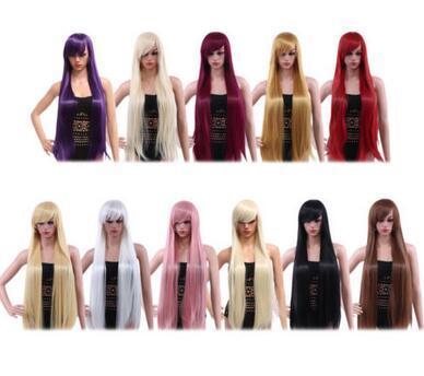 Livraison gratuite charmant belle nouvelle Meilleur Hot Femmes 100 CM Longue Soyeuse Droite Central Parting Synthétique Perruques Bangs Couleurs Cheveux