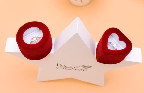 10Pcs/Lot Round Heart Velvet Jewelry Ring/ Earring Gift Packaging Display Box For Wedding Jewelry Boxes 2017