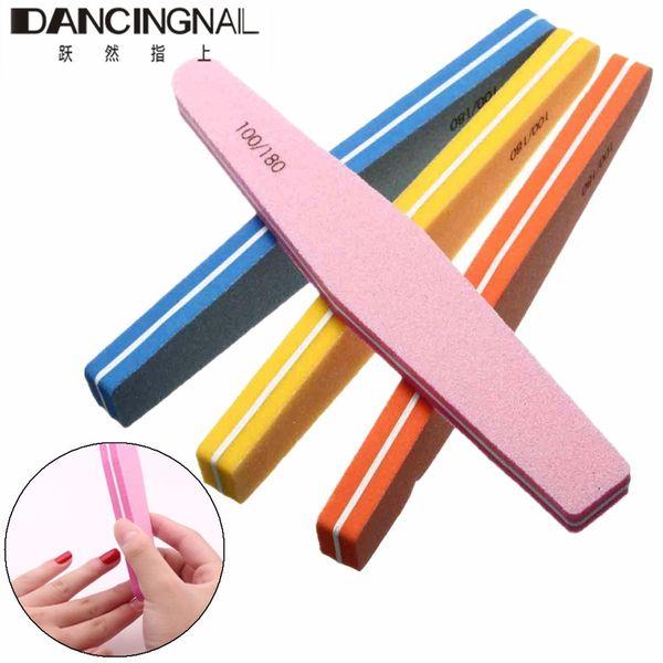 Wholesale- Random Color Nail Sponge Buffer Block Buffing Sanding Files Grit Nails Art Manicure Pedicure Tools 100/180