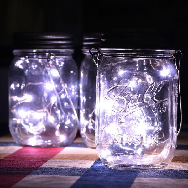 best selling Hot Christmas Party Led Light Decor black Solar Mason Jar Lid Insert With White LED Light for Glass Jars Christmas Gifts