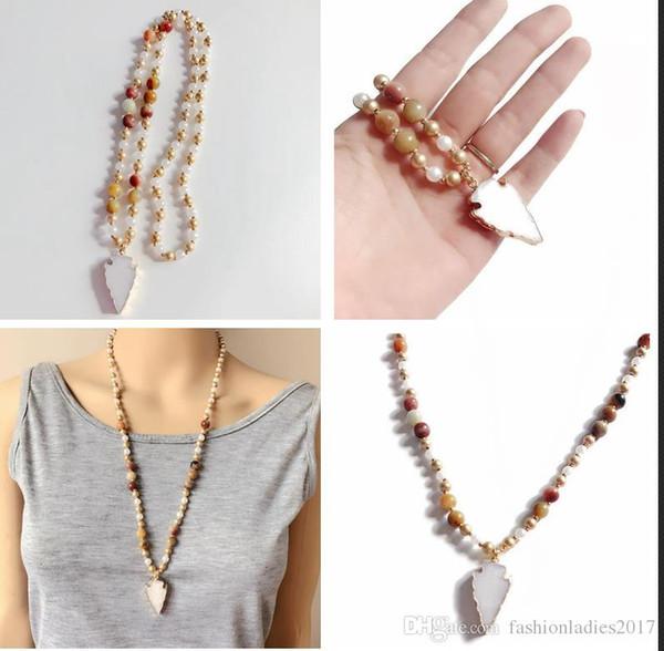 Fashion Natural Stone Druzy Rosary Chain Arrowhead Pendant Necklace Fashion designer Handmade Women Drusy Stone Bead long sweater necklaces