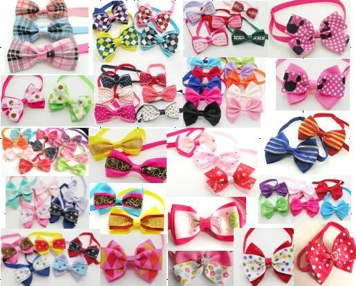 100pcs/Lot Big sale Fashion Pet Dog puppy Cat Cute Bow Ties Neckties Bowknot Dog Grooming Products Mixed style LY03