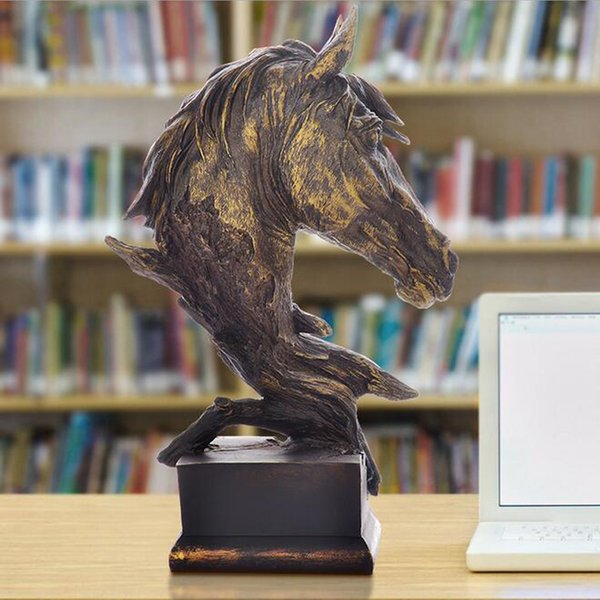 MEILLEURS CADEAUX DE PÈRE - Cheval Tête Buste Art Résine Matériel Animaux Figurine - Sculpture Tête De Cheval Statue Décor À La Maison