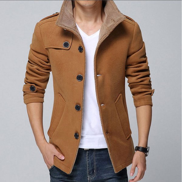 Wholesale- 2015 New Arrival Fashion Men Wool Jacket Coat Thicker Keep Warm Long Style Handsome Casual Wear Y00158