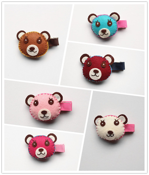 24 pcs/lot Lovely Cartoon Bear Head Animal Shape Bestseller Wool Felt Hair Rose Clip Pink Hair Barrette New Cute Kid Hairpin Clip