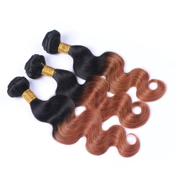 9A Brazilian Brown Ombre Virgin Human Hair 3Pcs Body Wave Weaves Extensions Two Tone 1B 30 Dark Roots Ombre Wavy Remy Hair Bundles