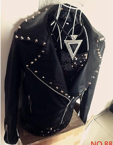 Free shipping !!! Hot Handsome non-mainstream men's clothing leather clothing punk rivet trend leather jacket outerwear / S-XXL