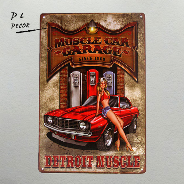 DL-MUSCLE CAR GARAGE Detroit Muscle Pin-Up Girl Chevy Camaro Tin Sign