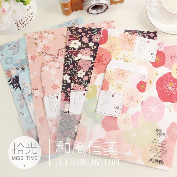 best selling Wholesale-3 envelopes+6 letter paper Japanese style romantic cherry blossoms gift envelope paper pocket letter pad