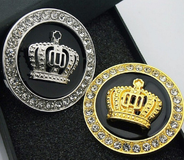 3D metal emble badge crown diamond car body tail decoration stickers auto emblem decals personality accessories fashion gold silver