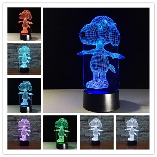 Snoopy 3D Light Touch LED Visual 7 couleur changement de lumière cadeau décoration de la maison lampe lampe de nuit