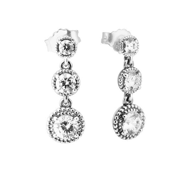Eternal Elegance Earrings Clear CZ 2017 Spring 100% 925 Sterling Silver Drop Earrings Authentic Fashion Jewelry