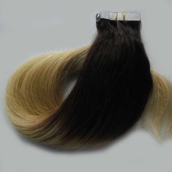 #1B/613 two tone ombre brazilian hair skin weft tape hair extensions Straight Brazilian blonde tape human hair 40 pieces/set 100g