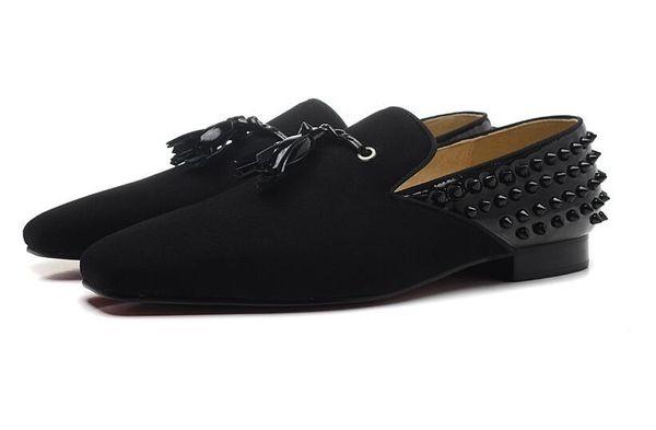 New fashion mens spiked tassel red bottom oxfords,designer brand square toe black business wedding dress shoes,fashion men loafers 35-46