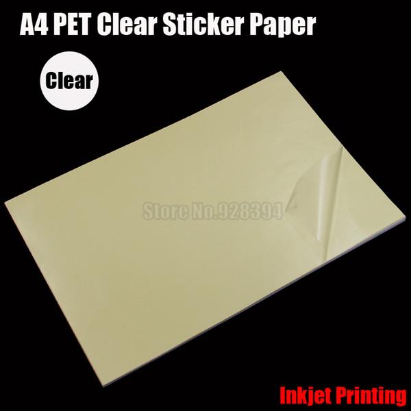 best selling Wholesale- 2016 25pcs A4 Clear Transparent PET Film Adhesive Paper Sticker Paper Waterproof Fit Inkjet Printer cip01