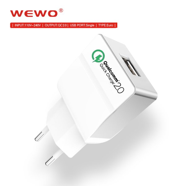 WEWO Original Qualcomm Quick Charge 2.0 Tech Micro USB Wall Charger for Samsung S8 Edge Note LG G5 Nexus 6 xiaomi Cell phone chargers