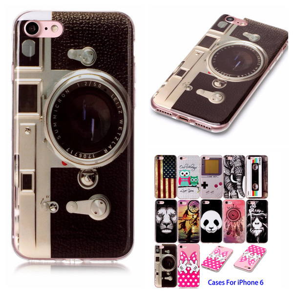 TPU Cases For iPhone 6 Aeolian Bells Lion Camera Old Tap National Elephant Game Handle Owl America Flag Gorilla Panda