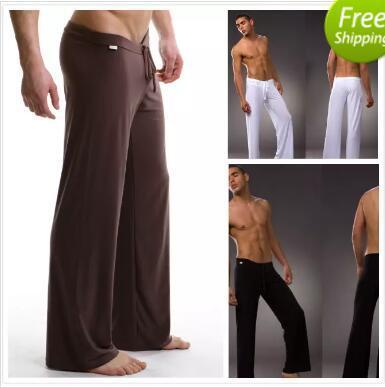 En yeni Siyah / Gri / Siyah / Beyaz Erkekler Seksi İpeksi Salonu Gevşek oturan Baggy Sporting Yoga Pantolon Pijama Erkek Pijama Pijama Pantolon