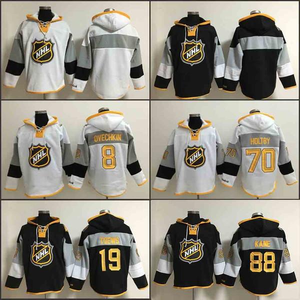 Männer Old Time Hockey 2016 All-Star- 8 John Carlson 19 Jonathan Toews 88 Patrick Kane 70 Braden Holtby Hoodie Eishockey Trikots C Patch